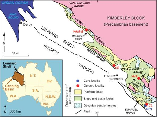 Simplified geologic map of the Lennard Shelf carbonate system showing sample localities and the general location of Upper Devonian reefal-platform and slope outcrop exposures (modified after Playford et al. 2009). Inset map shows the location of the Lennard Shelf within the greater Canning Basin in Western Australia. See Table 1 for nonabbreviated locality names.