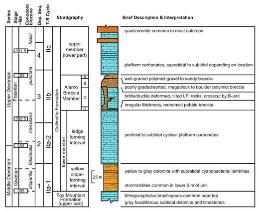 Generalized stratigraphy of the study interval of the Guilmette Formation. Conodont biozones are adapted from Sandberg et al. (1997), Kaufmann (2006), and Morrow et al. (2009). Depositional sequences are those presented herein and are consistent with LaMaskin and Elrick (1997), Rendall (2013), and Retzler et al. (2015). Devonian transgressive–regressive (T–R) cycles are from Johnson et al. (1996). Modified from Tapanila et al. (2014) and Retzler et al. (2015).