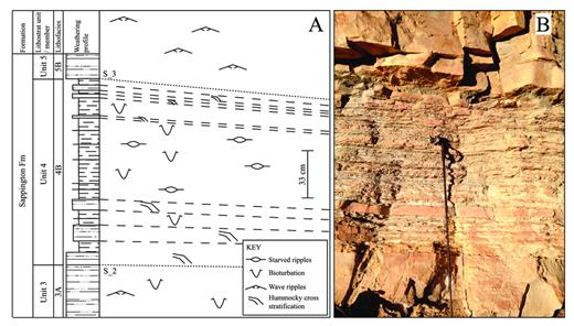—A) annotation of the outcrop photo from B showing observed sedimentary structures, lithostratigraphy, and key surfaces; B) outcrop photo of surfaces S_2 and S_3, which are bounding the middle systems tract of sequence 2 (Unit 4 in terms of lithostratigraphy).