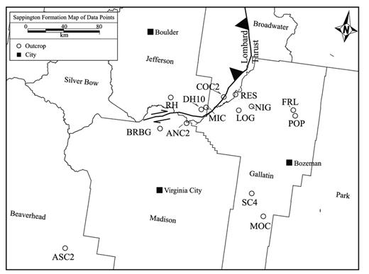 —Map of Sappington Formation outcrop locations used in this study. ANC2 = Antelope Creek; ASC2 = Ashbough Canyon; BRBG = Brown Back Gulch; COC2 = Copper City; DH10 = Dry Hollow; FRL = Frazier Lake; LOG = Logan Gulch; MIC = Milligan Canyon; MOC = Moose Creek; NIG = Nixon Gulch; POP = Pomp Peak (Peak 9559); RH = Red Hill; RES = Rekap Station; SC4 = Storm Castle.