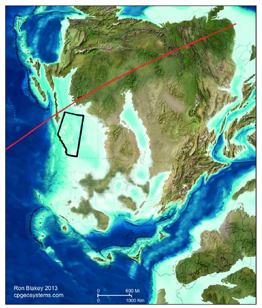 —Late Devonian (mainly Frasnian) paleogeography of North America showing location of Alberta (black outline) with respect to the paleo-equator (red line). Map from Ron Blakey (2011), deeptimemaps.com.