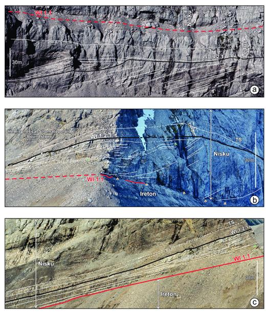 —Upper WD4 to WI1.1 strata at the Nikanassin Range. a) Truncation of underlying clinoforms by the WD4.2.1 surface, overlain by a wedge of onlapping/downlapping intraclastic grainstones (positions 5–8, Fig. 13a). b) Massive grainstone to boundstone margin of the WI1 above the erosional WI1.1 sequence boundary. Dips above the orange arrows represent true dip; shallower dips above the green arrow represent a change in progradation direction; dipping WI1.2 surface cuts down into the WI1.1 (position 13, Fig, 13a and far right of Fig. 13b). c) WI1.1 sequence boundary tracks the basinward-dipping surface of uppermost WD4. Wedge of grainstone between the sequence boundary and the trangressive surface (TS) represents an in situ lowstand deposited during rising sea level.