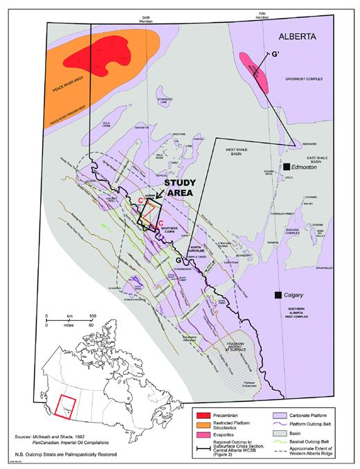 —Palinspastically restored paleogeographic map of the Leduc Formation reefs of Alberta and adjacent British Columbia. The reef distribution approximately represents Woodbend Composite Sequence 3 deposition. The present study area is indicated. Line of section C-C′ is illustrated on Figure 24; G-G′ is illustrated on Figure 4.