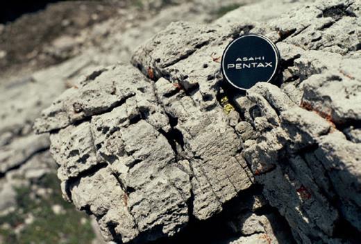 —Parallel laminated grainstone with laminoid fenestrae, WD3.2 lowstand at Cripple Creek Skyline. Lens cap diameter is 5 cm.