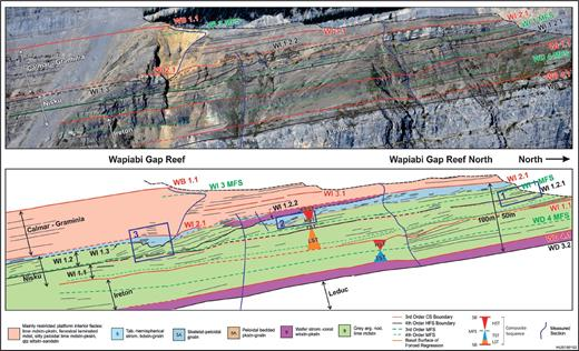 —Sequence stratigraphy and lithofacies of the WI1 to WI3 CS at the Wapiabi Gap skyline. Platform-interior strata are colored according to the dominant lithofacies type. The BSFR is represented by orange lines. Rapid facies change from cherty, nodular lime mudstone of the lower foreslope to overlying grainstone of the upper foreslope in the WD1.2.1 HFS is believed to be caused by falling relative sea level during progradation (forced regression). MFSs are defined from stratal stacking patterns that mark the turnaround from aggradation to progradation and is the main criterion for differentiating lowstand from highstand systems tracts in the lower foreslope to basinal deposits shown here. Boxes 1, 2, and 3 mark the locations of Figures 28A and B, 28C, and 29A, respectively.