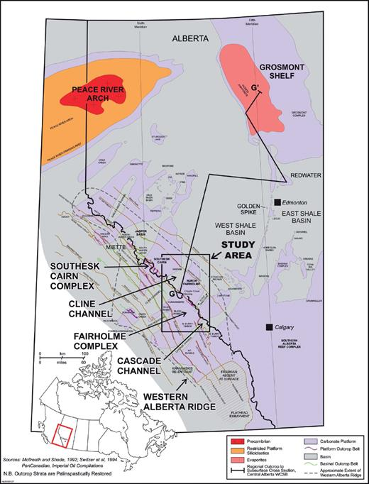 —Location map of the study area in the Rocky Mountain Front Ranges of west-central Alberta. Areas of carbonate platform and basin are indicated. The Cline Channel connects the West Shale Basin to proto-Pacific. The line of cross section is that of schematic shown in Figure 3.