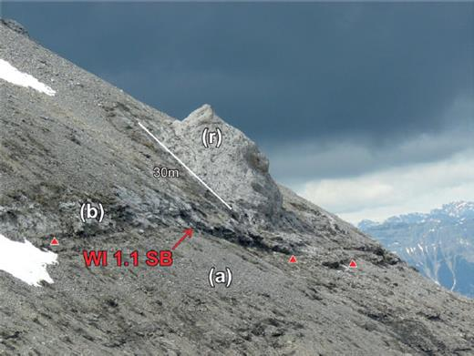 —WI1.1 pinnacle reef at Kiska. The WI1.1 composite sequence boundary separates the underlying basinal deposits (a) of dark gray nodular to nodular-bedded wackestone to lime mudstone of the WD4 CS from the overlying grainstone (b). Pinnacle reef (r) is composed of dipping beds (30°) of tabular stromatoporoid boundstone grading upward into hemispherical stromatoporoid boundstone.