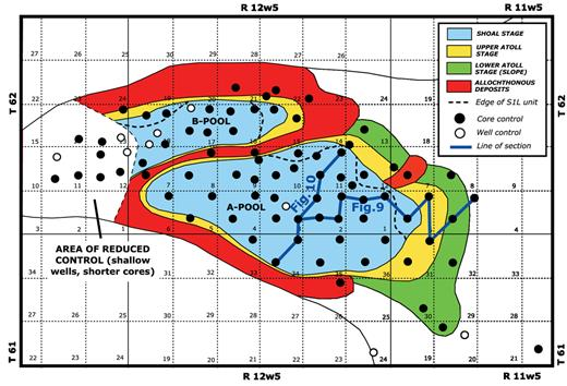 —Upper atoll and shoal stages in the Carson Creek North Swan Hills A- and B-pools, based on available well and core control at the time of the study, including the lines of cross sections shown in Figures 9 and 10.
