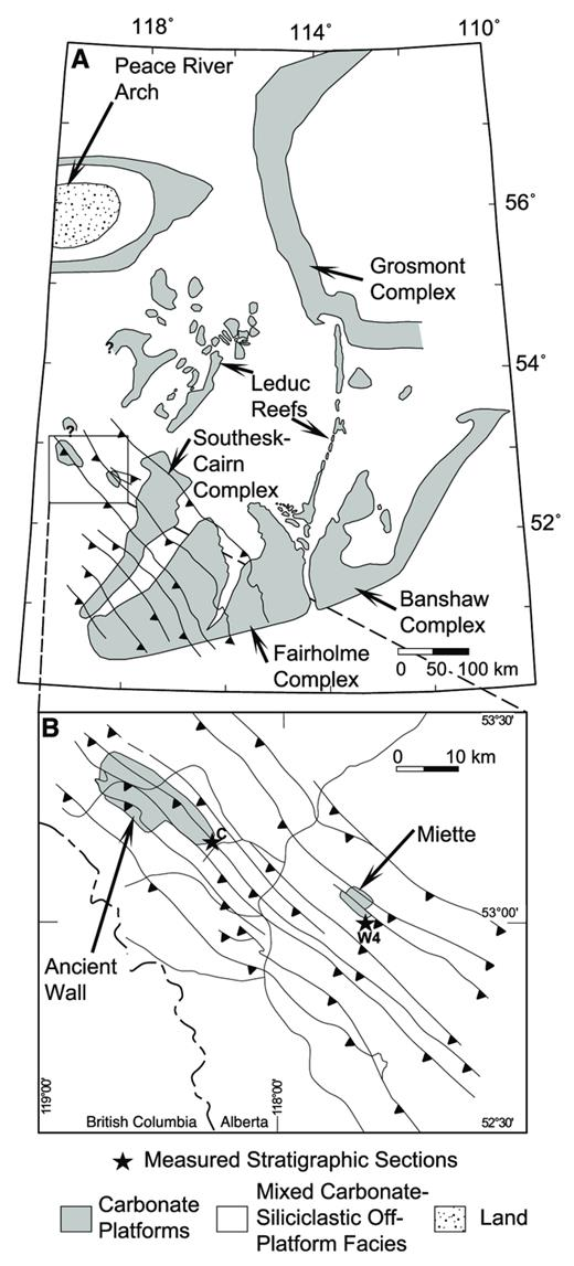 —A) Palinspastically restored Middle Frasnian paleogeographic map, illustrating the locations of Upper Devonian isolated and attached carbonate platforms in the Western Canada Sedimentary Basin. Buildups located west of the easternmost barbed line, indicating the eastern limit of Laramide thrusting, are exposed in the Canadian Rocky Mountains (after Geldsetzer 1989, Mountjoy 1989, Switzer et al. 1994). B) Location map of the overthrust belt in western Alberta and eastern British Columbia, showing the locations of the Miette and Ancient Wall platforms (after Mountjoy 1965). Lettered stars indicate the location of measured stratigraphic sections: C = Thornton Creek, W4 = Poachers Creek.
