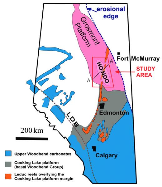 —Simplified subsurface map showing the outlines of Upper Devonian Woodbend carbonate platforms and reefs in Alberta. At this scale, the various outlines are only approximate. The Hondo study was conducted in the trapezoid area. Cross section A-Aʹ is shown schematically in Figure 3. The Grosmont platform was delineated seismically except along its eastern limit, which is erosional against the Canadian Shield. LDB = Limit of the Disturbed Belt.