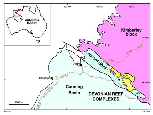 —Locality map, Devonian reef complexes of the Canning Basin.