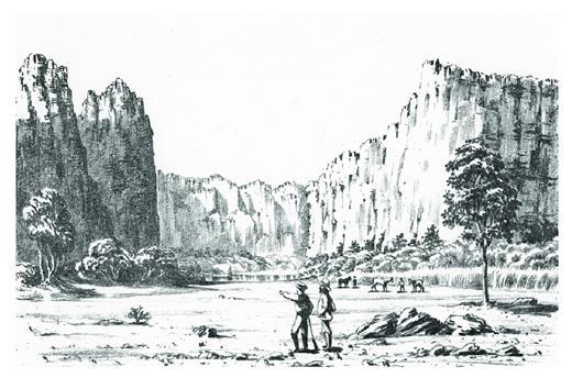 """—Sketch by E.T. Hardman of the southern entrance to Windjana Gorge (""""Devil's Pass""""), 1883."""