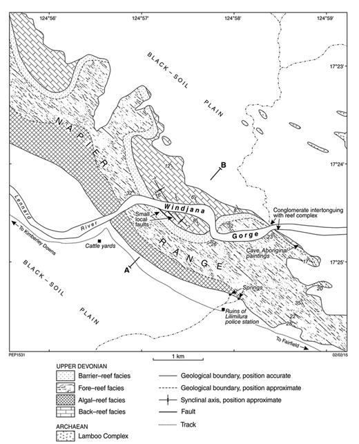 —Geological map of part of the Napier Range reef complex at Windjana Gorge, as interpreted by Playford and Johnstone (1959).