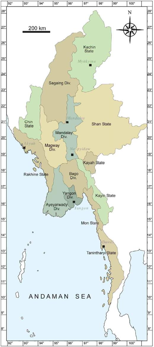 Map showing states and regions of Myanmar (Div., divisions).