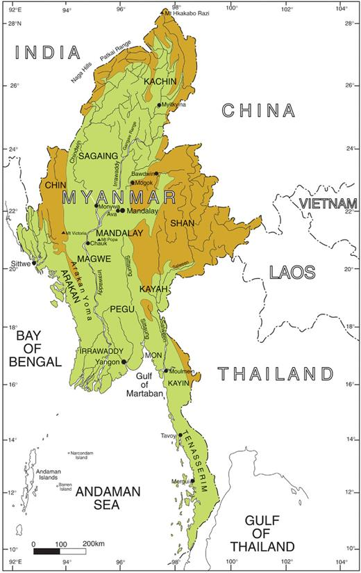 Map showing physiography of Myanmar. Brown colour denotes land above 1000 m.