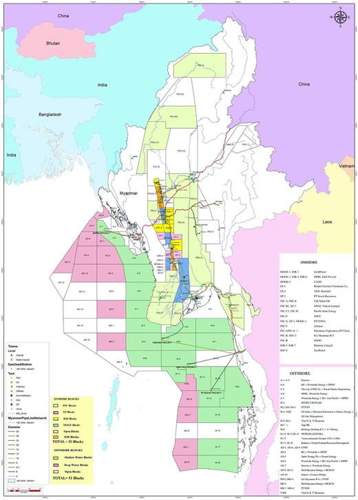 Map showing offshore and onshore blocks for oil and gas exploration concessions and pipelines in Myanmar (map courtesy of Lynn Myint 2016).