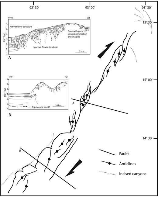 Map view and cross-section characteristics of the NE–SW-trending trench segment SW offshore Myanmar (modified from Nielsen et al. 2004). See Figure 2.14 for location.