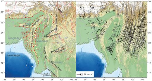 Seismotectonic map of Myanmar (Burma) and surroundings. Faults are from Taylor & Yin (2009) with minor additions and adjustments. GPS vectors show velocities relative to a fixed India from Vernant et al. (2014), Gahalaut et al. (2013), Maurin et al. (2010) and Gan et al. (2007). Coloured circles indicate Mw > 5 earthquakes from the EHB catalogue. Grey events are listed for depths <50 km, yellow for depths of 50–100 km and red for depths >100 km. The band of yellow and red earthquakes beneath the Indo-Burman Ranges represents the Burma Seismic Zone. The dashed black line shows the line of the cross-section in Figure 2.13. ASRR, Ailao Shan–Red River Shear Zone.