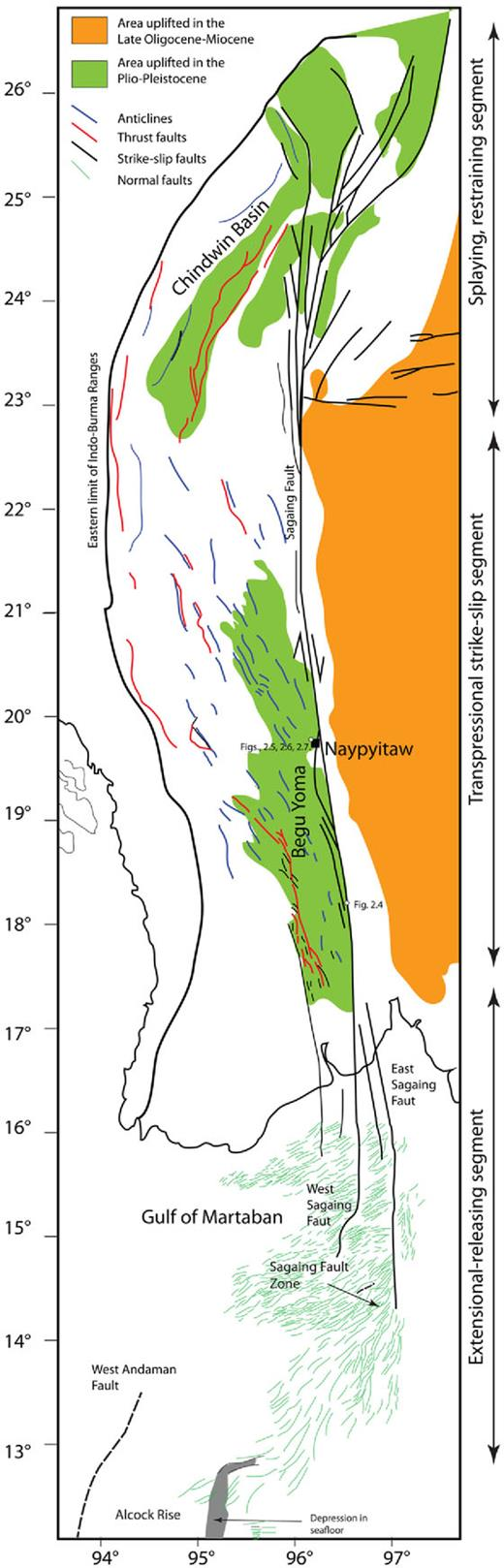 Regional setting, and fault geometries and uplift distribution associated with the Sagaing Fault.