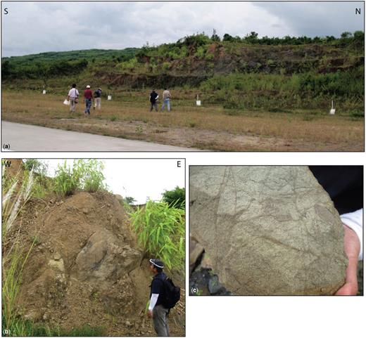 Pressure ridge west of the Yangon–Naypyidaw–Mandalay Expressway, south of Naypyidaw (18.479680° N, 96.373367° E): (a) view of the ridge; (b) more coherent boulders in rubble matrix; (c) sandstone boulder showing extensive cataclastic deformation bands.