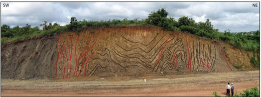 Road cut in NW suburbs of Naypyidaw, illustrating strike-slip faulting and folding affecting Miocene Kyaukkok and Obogon formations. Shale-prone sequences are abruptly juxtaposed by faulting with folded sandstones. Location: 19.773024° N, 96.048629° E.
