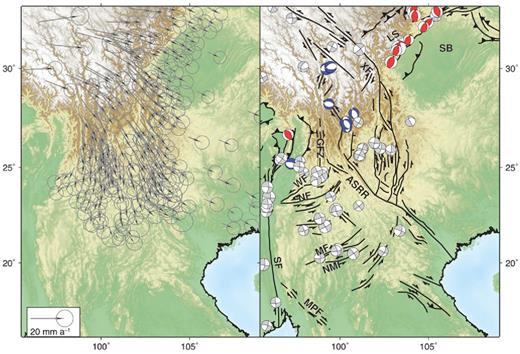 GPS vectors, faults and earthquakes to the east of Myanmar. GPS vectors are shown relative to stable Eurasia and are taken from Gan et al. (2007). In the second panel earthquake focal mechanisms are taken from the GCMT catalogue and coloured by mechanism (red for thrust events, blue for normal faulting events and grey for strike-slip faulting). Only Mw ≥ 5.5 events with a greater than 75% double component are shown. Faults are taken from Taylor & Yin (2009) with minor additions. ASRR, Ailao Shan–Red River Shear Zone; LS, Longmen Shan; SB, Sichuan Basin; XF, Xianshu-ihe Fault; GFZ, Gaoligong Fault Zone; WF, Wanding Fault; MF, Mengxing Fault; NMF, Nam Ma Fault; MPF, Mae Ping Fault; SF, Sagaing Fault.