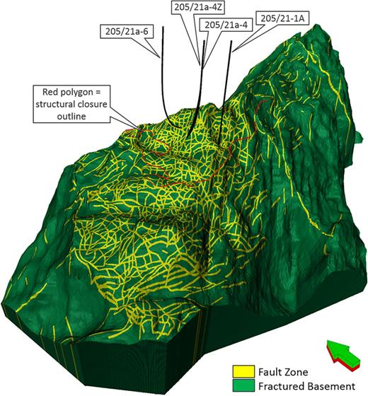 3D representation of Lancaster facies model, displaying the base-case fault network as simulated in the dynamic model. The total number of faults is in excess of 700, the grid cell count is greater than 80 million.