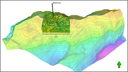 Sector model consisting of a 4×4 km sector model area in relation to the Lancaster Field. The sector model was undertaken in Eclipse to provide initial sensitivities on well orientation (inclined v. horizontal), potential aquifer strength and 'Oil Down To' (ODT).