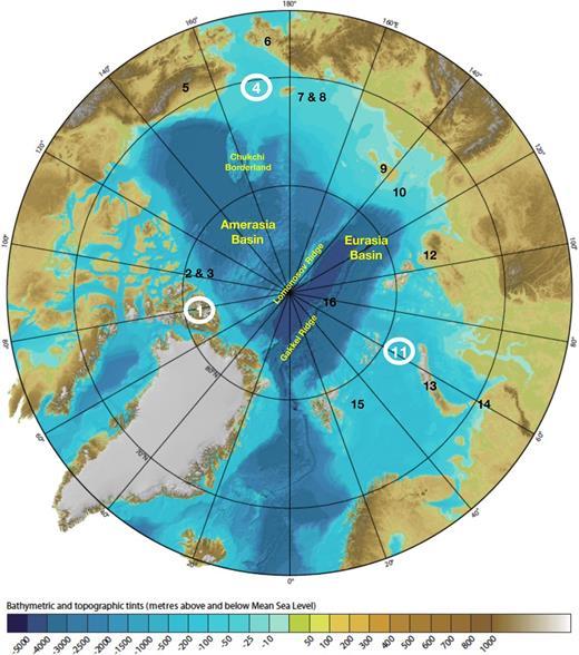 Geographical elements of the Arctic Ocean and locations of the studies presented in this volume. The base map is the International Bathymetric Chart of the Arctic Ocean (after Jakobsson et al. 2008). Colours indicate depth below sea-level in metres. (1) Stephenson et al. (2017); (2) Schiffer & Stephenson (2017); (3) Piepjohn & von Gosen (2017); (4) Miller et al. (2017b); (5) Hoiland et al. (2017); (6) Pease et al. (2017); (7) Miller et al. (2017a); (8) Gottlieb et al. (2017); (9) Piepjohn et al. (2017); (10) Drachev & Shkarubo (2017); (11) Faleide et al. (2017); (12) Zhang et al. (2017a); (13) Zhang et al. (2017b); (14) Curtis et al. (2017); (15) Minakov et al. (2017); (16) Knudsen et al. (2017). Contributions from Lebedev et al. (2017) and Schiffer et al. (2017) cover the entire Arctic region. The large circled contributions are the regional transects.
