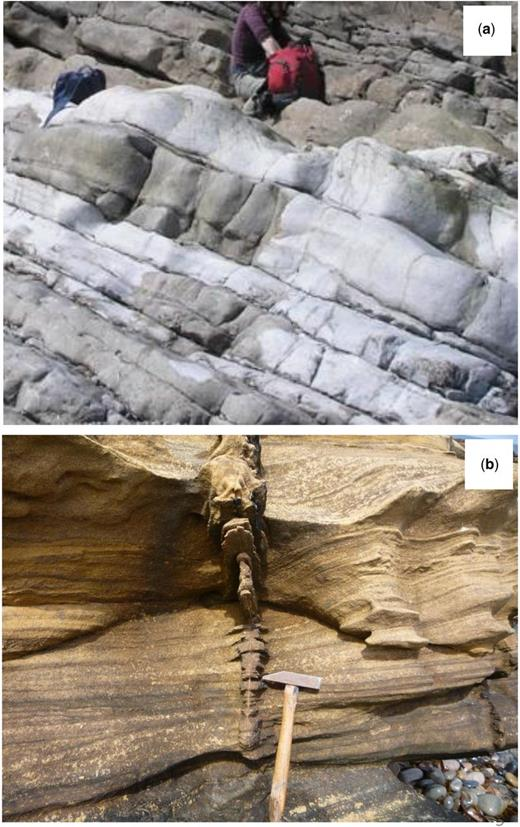 Role of open systems in reservoir diagenesis. (a) Termination of fault/fracture controlled dolomite body, Lower Carboniferous Limestone, North Wales Platform. Dolomitized beds are located beneath thin, low permeability beds and terminate sharply against fractures. (b) Fracture-controlled calcite cementation in Upper Devonian Balnagown Group (aeolian facies of the Gaza Formation) at Tarbert Ness in NE Scotland. The fracture has led to localized calcite cementation of the sandstone owing to an influx of cementing species but the effect is limited to the near-fracture (proximal) region since the new cement closed pores and limited advective influx into the more distal parts of the sandstone. (Image (a) courtesy of Cathy Hollis, image (b) courtesy of Richard Worden.)