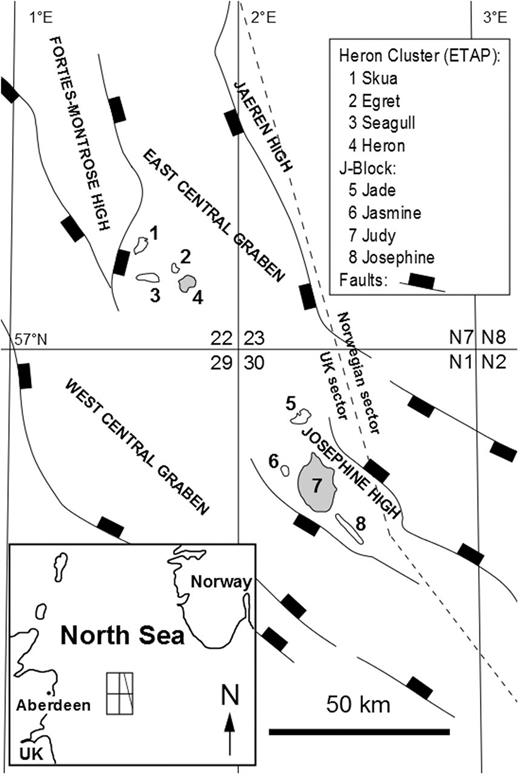 Location map showing major structural elements of the Central Graben, North Sea (East Central Graben, Forties-Montrose High, Josephine High and West Central Graben) and some Triassic targets within the UK quadrant 22 (Heron Cluster) and UK quadrant 30 (J-Block). The wells chosen are from fields shaded grey.