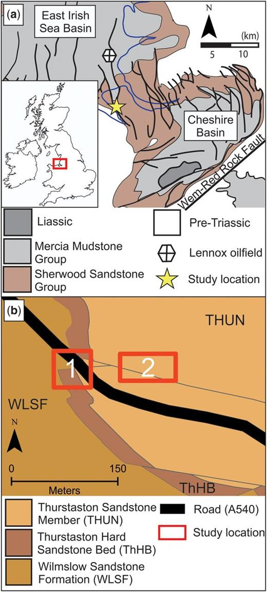 (a) A simplified geological map of the Cheshire and East Irish Sea basins (edited from Meadows 2006). (b) The geology of Thurstaston and the locations used in this study: Telegraph Road (1) and Thurstaston Common (2). Maps adapted from Lexicon of Named Rock Units [XLS geospatial data], Scale 1:50000, Tiles: GB, Version 2011, British Geological Survey, UK. Using: EDINA Geology Digimap Service, http://digimap.edina.ac.uk, downloaded April 2013.
