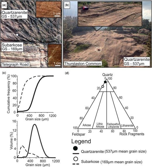 (a) Deformation bands confined to the coarse-grained sandstone at Telegraph Road. (b) Deformation bands at Thurstaston Common showing a positive relief. (c) Grain-size analysis of both the fine- and coarse-grained sandstone at Telegraph Road. (d) XRD-determined mineralogy of both the fine- and coarse-grained sandstone at Telegraph Road.
