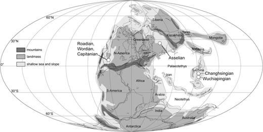 Permian world map showing the locations of ratified GSSPs of Permian stage bases after Lucas et al. (2006).