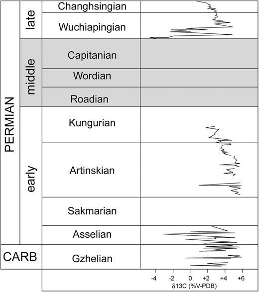 Permian carbon isotope curve after Buggisch et al. (2015).