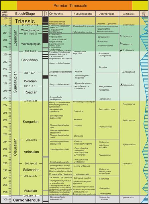 Current Permian timescale of the Subcommission on Permian Stratigraphy.